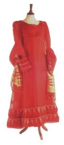 1820 1822 red muslin evening dress