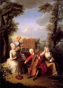 Frederick playing viola da gamba by Philippe Mercier