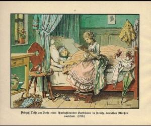 Prinzessin_Luise_liest_einem_kranken_Kind_aus_dem_Dorf_Märchen_vor