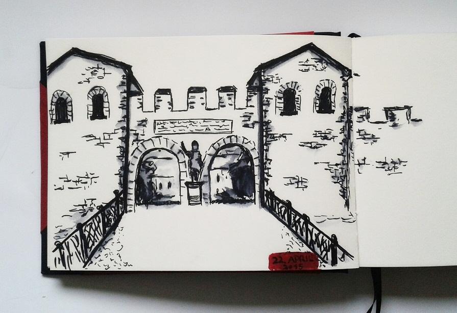 sketch of the Saalburg, by Sandra Schwab