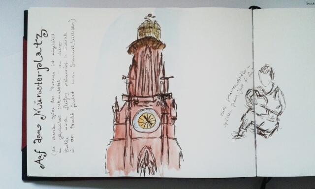 Medieval minster, Freiburg, sketch by Sandra Schwab