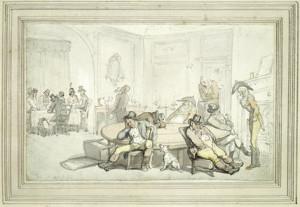 Gaming at Brooks's Club: 19th century Thomas Rowlandson c. 1810-1815