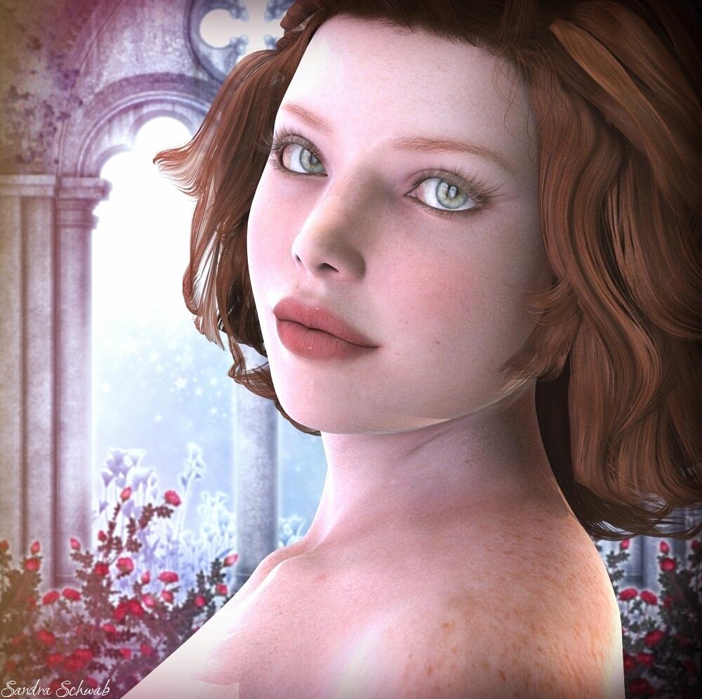 Red-haired woman, digital art by Sandra Schwab
