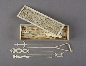POW bone work jackstraws spillikins set
