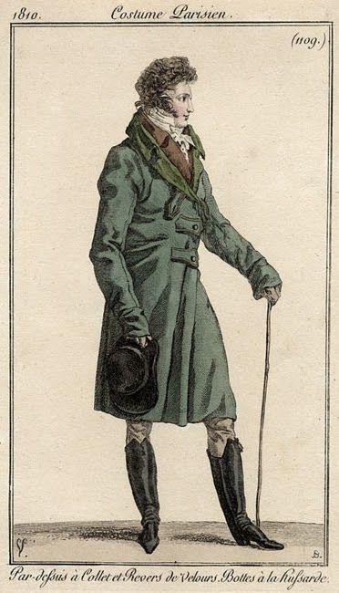 Regency Gentleman in a sexy coat, boots, has walking stick. Seem from profile.
