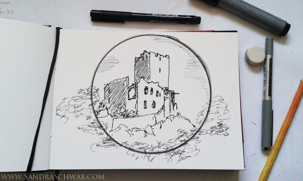 A sketch of the Kastelburg in Waldkirch